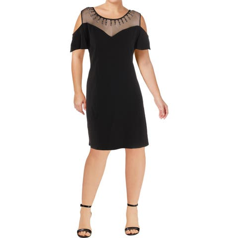 City Chic Womens Plus Stud Star Cocktail Dress Illusion Off The Shoulder