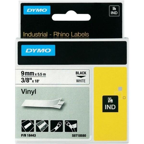 "Dymo 18443 3/8"" X 18 Ft Rhinopro Industrial Permanent Label Tape, Black On White"