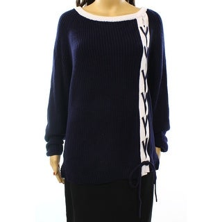 Grace Elements NEW Blue White Women's Size XL Tunic Lace Up Sweater