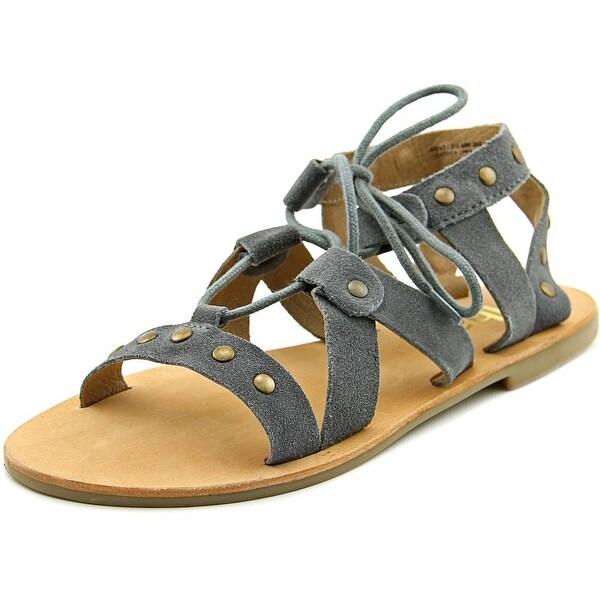 Diba Zig Zag Women Open Toe Suede Gray Gladiator Sandal