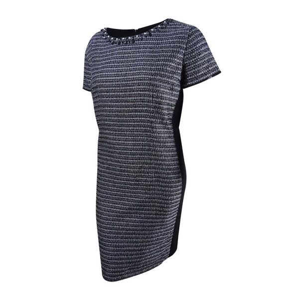 Ellen Tracy Women\'s Plus Size Embellished Sheath Dress (22W, Black/Ivory) -  Black/Ivory - 22W