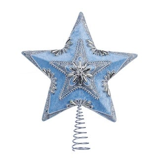 "13.5"" Pale Blue Velour Star with Silver Beading and Hologram Glitter Decorative Christmas Tree Topper"