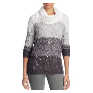 Design History Womens Turtleneck Sweater Colorblock Cable Knit