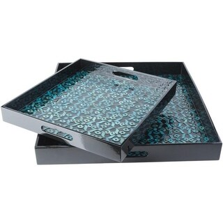 Set of 2 Shiny Black and Teal Decorative Wood Square Serving Tray Set 16