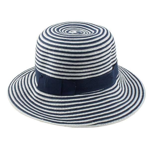 3da36c46 Women Straw Stripe Shaped Foldable Wide Brim Sun Cap Bucket Beach Hat Blue  White