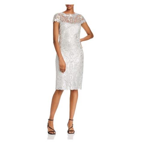 TADASHI SHOJI Silver Short Sleeve Short Body Con Dress Size 6