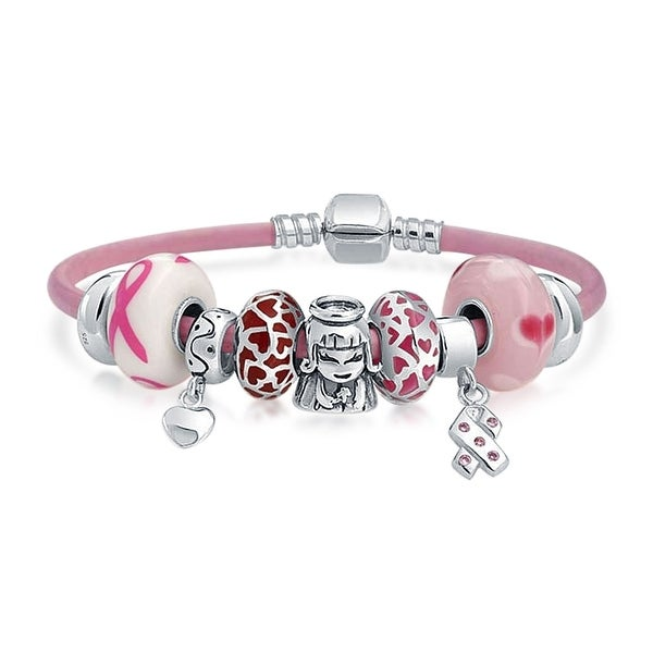 Breast Cancer Survivor Pink Family European Bead Charms Bracelet Genuine Leather For Women Sterling Silver Barrel Clasp