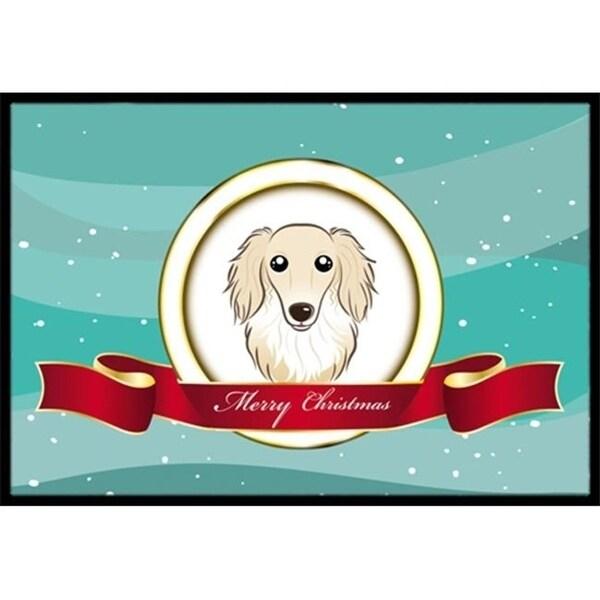 Carolines Treasures BB1522MAT Longhair Creme Dachshund Merry Christmas Indoor & Outdoor Mat 18 x 27 in.