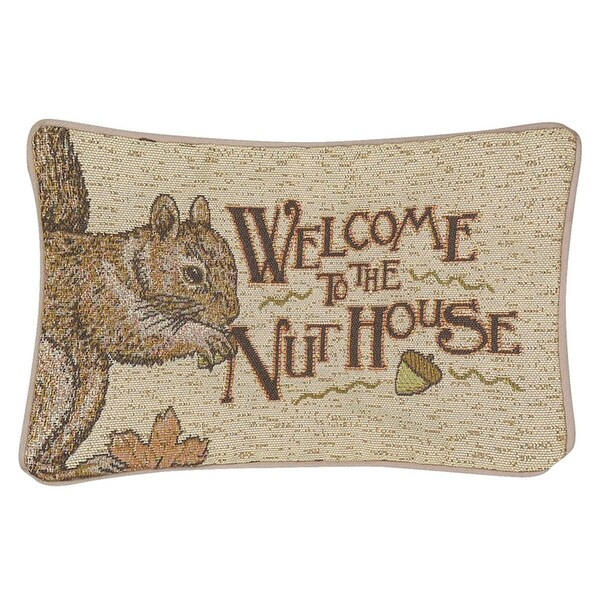 "Welcome to the Nuthouse Rectangular Throw Pillow 8.5"" x 12.5"""