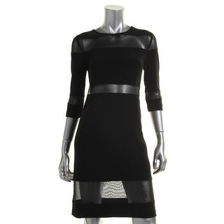 KamaliKulture Womens Matte Jersey Mesh Inset Cocktail Dress - L