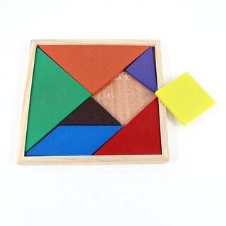 Kid Brain Intelligence Training Geometry 7 Parts Wood Puzzle Tangram Toy