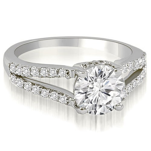 1.07 cttw. 14K White Gold Cathedral Split Shank Round Diamond Engagement Ring
