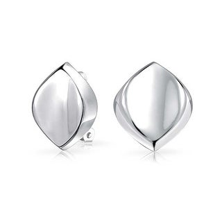 Bling Jewelry 925 Sterling Silver Modern Oval Clip On Earrings