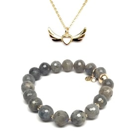 "Julieta Jewelry Set 10mm Grey Labradorite Sophia 7"" Stretch Bracelet & 15mm Wings Of Love Charm 16"" 14k Over .925 SS Necklace"
