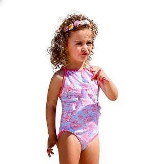 Sun Emporium Little Girls Sky Blue Pink Racer Back Swimsuit