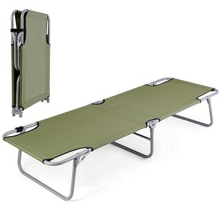 Costway Portable Foldable Camping Bed Army Military Camping Cot Hiking Outdoor Travel - Green