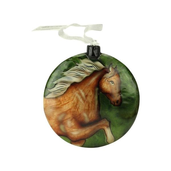 "4"" Country Wildlife Shiny Green Wild Horse Capiz Shell Disc Christmas Ornament(100mm)"