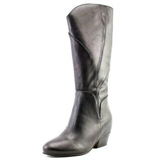 Naya Fjord Women Round Toe Leather Black Knee High Boot