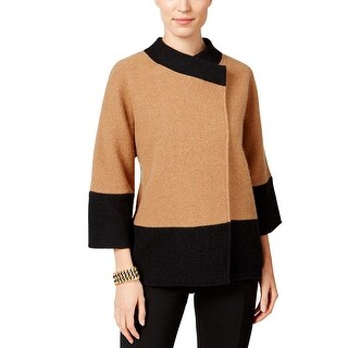 JM Collection Womens Wool Color Block 3/4 Sleeves Jacket Top, Brown, Size SM