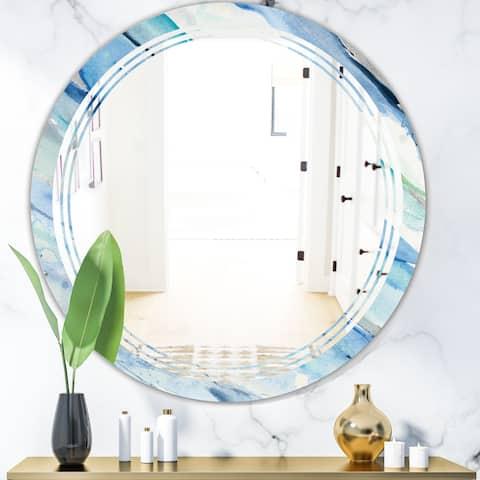 Designart 'Blue Silver Spring I' Modern Round or Oval Wall Mirror - Triple C