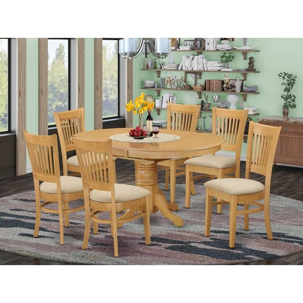 7 Piece Dining Table With Leaf And 6 Dinette Chairs On Sale Overstock 10296414 Avva7 Oak C