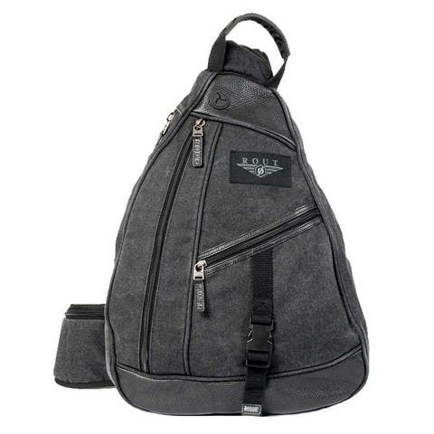 "ROUT Voyager Sling Backpack, Washed Cotton Canvas & Leather Trim, Black RC10561 - 12.5"" x 18"" x 5.75"""