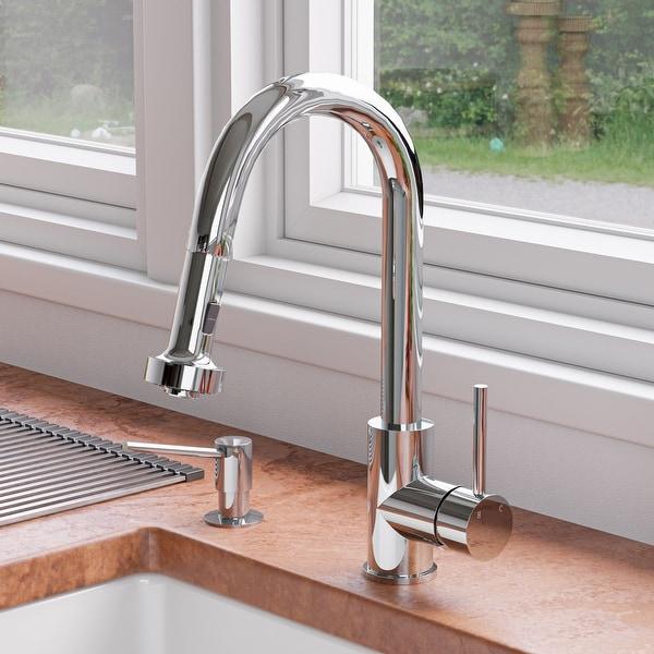 Polished Chrome Sensor Gooseneck Pull Down Kitchen Faucet. Opens flyout.