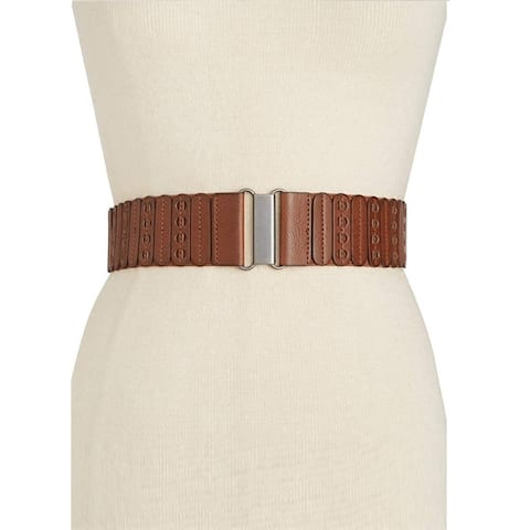 INC International Concepts Women's Stretch Paneled Faux Leather Belt Brown Size Small/Medium - Small
