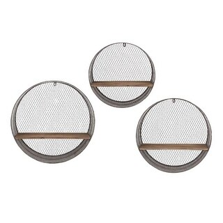 Set of 3 Industrial Style Lattice Patterned Round Wooden Wall Shelves 21.25""