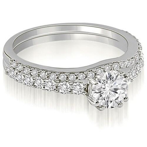 1.54 cttw. 14K White Gold Cathedral Round Cut Diamond Bridal Set