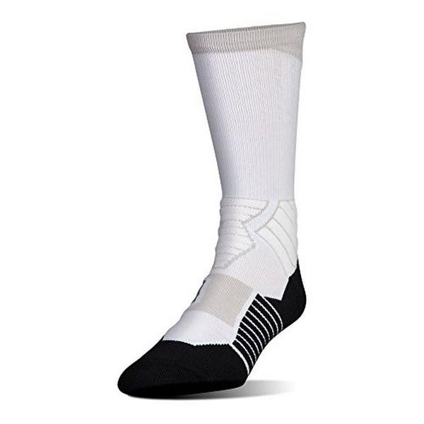 Under Armour Mens Basketball Crew Sock, White/Black, M