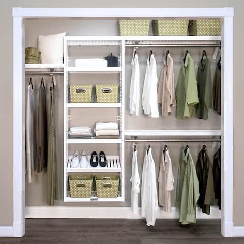 John Louis Home Woodcrest White Solid Wood Premier Closet Organizer