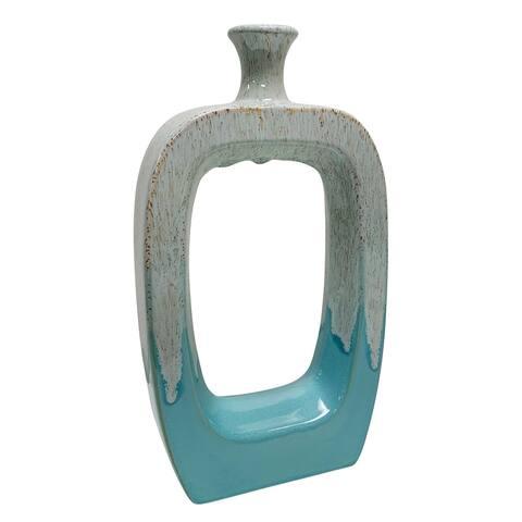 """Ceramic 14"""" Vase W/Cutout White/Aqua"""