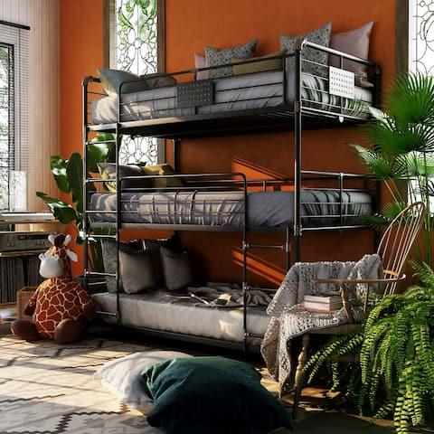 Furniture of America Gorz Industrial Black Twin Metal Triple Bunk Bed