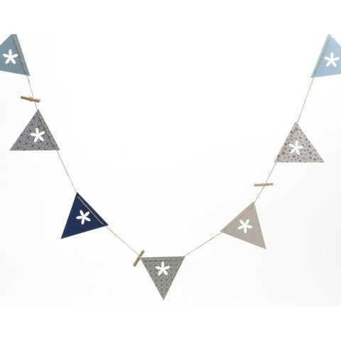 7' French Countryside Decorative Blue and White Flag with Flower Cutout Message Banner Garland