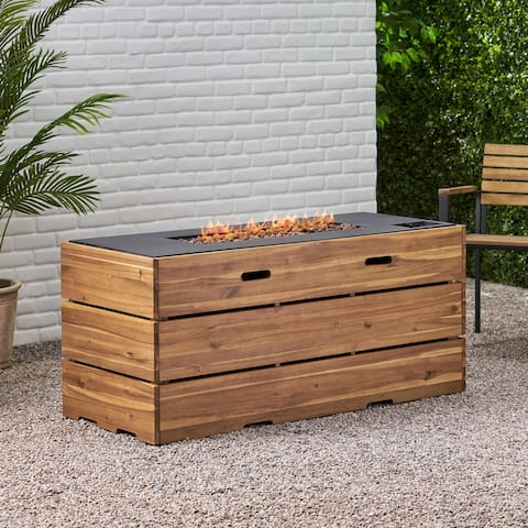 """Rodeo Outdoor 40,000 BTU Rectangle Fire Pit by Christopher Knight Home - 55.00"""" W x 22.50"""" D x 24.50"""" H"""
