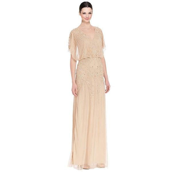 Shop Aidan Mattox Flutter Sleeve Beaded V-Neck Blouson Evening Gown ...