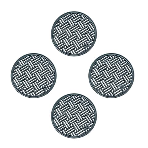 A1HC Rubber Step Mat Multi Functional -Garden Stepping Stone Mat, Outdoor Decorative Tray, Round 12-Inch Dia- Set of 4, Black