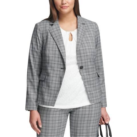 Calvin Klein Womens Plus Jacket Plaid Professional