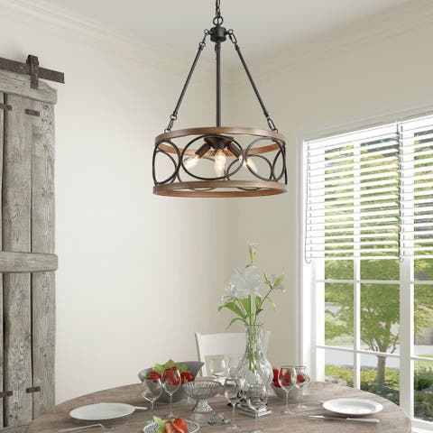 Farmhouse 4-lights/3-lights Hollow Drum Chandelier with Distressed Finish