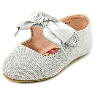 Sarah Jayne Becky Infant  Round Toe Canvas Silver Mary Janes