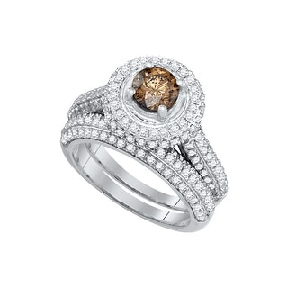 14k White Gold Womens Cognac-brown Colored Diamond Bridal Wedding Engagement Ring Band Set 2.00 Cttw - Brown