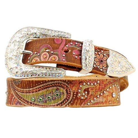 Nocona Western Belt Womens Leather Studded Paisley Brown Pink