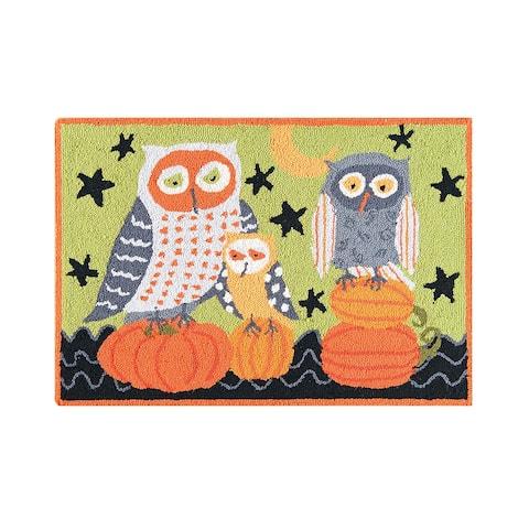 Hootenanny Owls Pumpkin Wool Halloween Hooked Rug