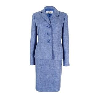 Le Suit Women's Melange Textured Three-Button Skirt Suit