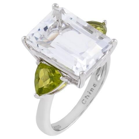 3-Stone Emerald Arkansas Quartz Center Engagement Ring, Sterling Silver