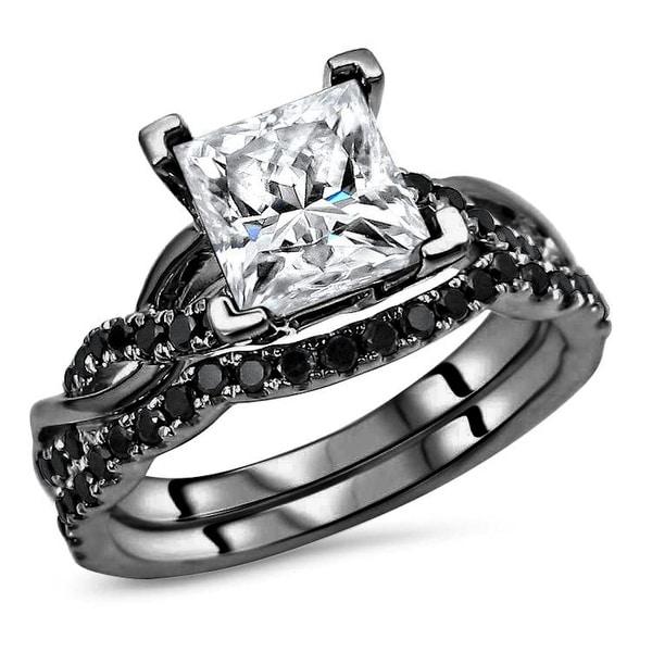 14k Black Gold Plating Over White Gold 1.50ct Princess cut Moissanite & 2/5ct Black Diamond Engagement Ring Set. Opens flyout.