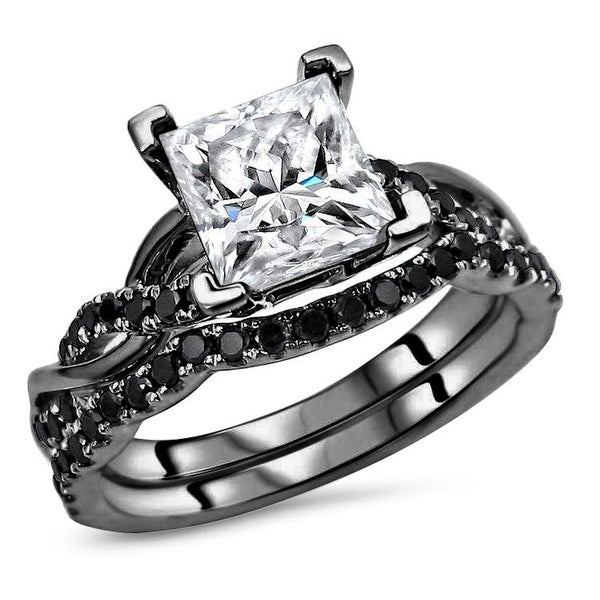 14k Black Gold Plating Over White Gold 2.0ct Princess cut Moissanite & 2/5ct Black Diamond Engagement Ring Set. Opens flyout.
