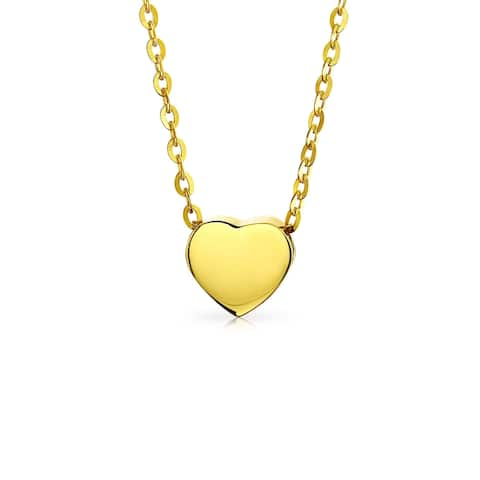 Tiny 14K Yellow Real Gold Polished Station Heart Pendant Necklace For Women For Teen For Girlfriend