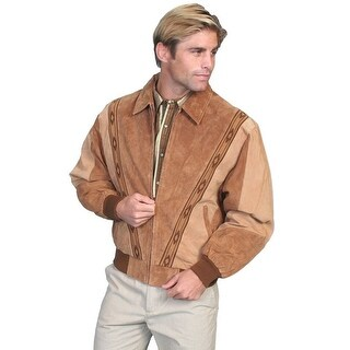 Scully Western Jacket Mens Leather Zip Southwestern Carmel